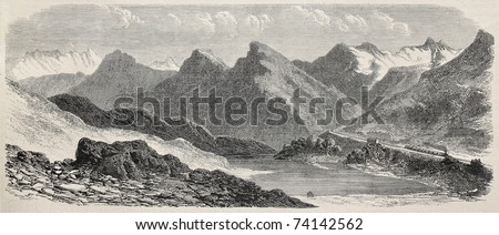 Old illustration of Mont Cenis railroad scenery (railway opened in 1868 and dismantled in 1871). Created by De Bar and Cosson-Smeeton, published on L'Illustration, Journal Universel, Paris, 1868 - stock photo