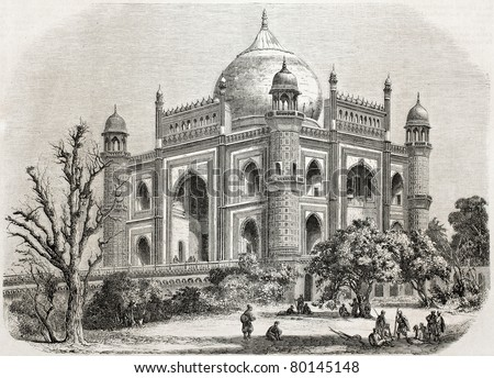 Old illustration of Safdarjung tomb, Delhi. Created by De Bar after photo of De la Grange, published on L'Illustration Journal Universel, Paris, 1857 - stock photo