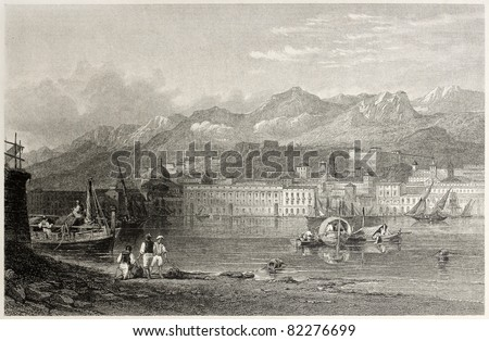 Old illustration of the port of Messina, Sicily, Italy.  Created by Leitch and Benjamin, published on Il Mediterraneo Illustrato, Spirito Battelli ed., Florence, Italy, 1841 - stock photo