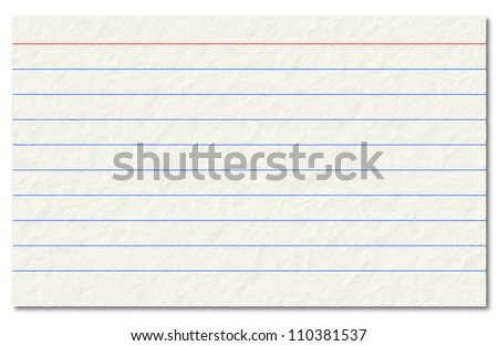 Old index card isolated on a white background. - stock photo