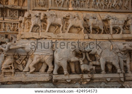Old Indian temple. Fragments of walls,sculptural details that adorn the temple. Jagdish Mandir Temple Udaipur, India. - stock photo