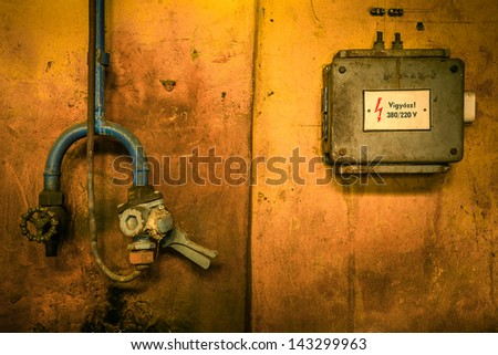 Old industrial electric box  - stock photo