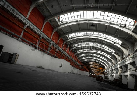 old industrial interior bright light - stock photo