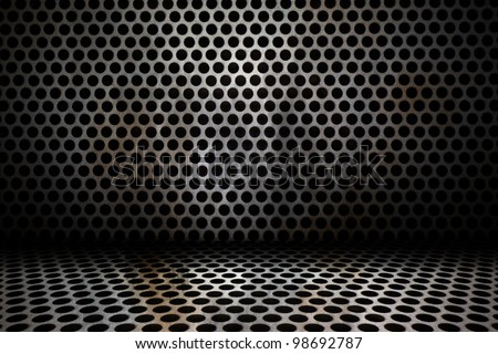 old interior background of circle mesh pattern texture - stock photo