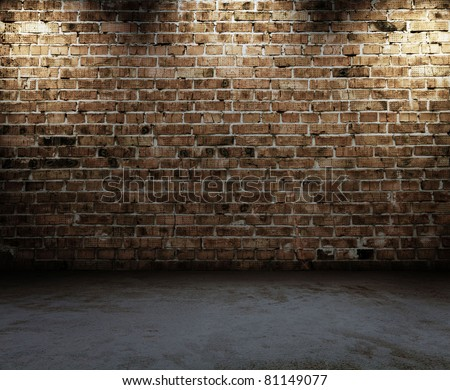 old interior with brick wall - stock photo