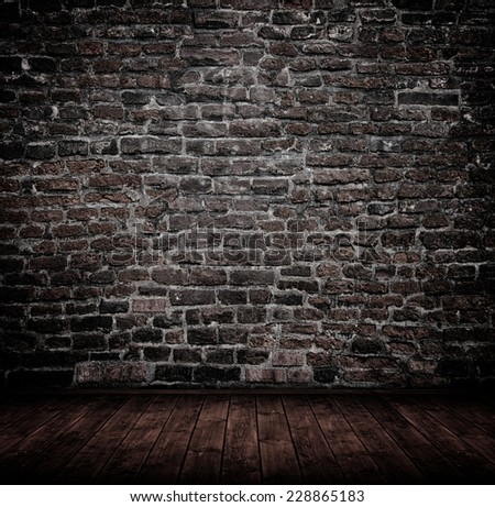 old interior with brick wall, vintage background. - stock photo