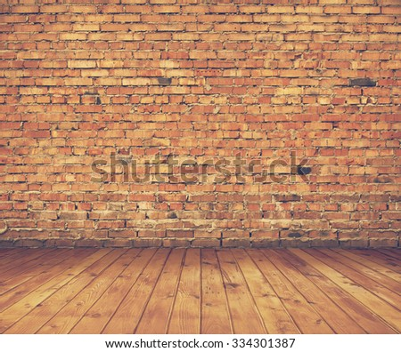 old interior with brick wall, vintage background, retro film filtered, instagram style - stock photo