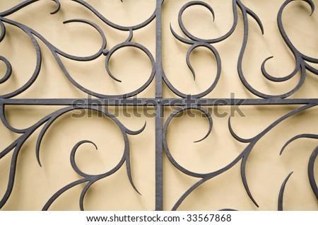 Old iron gate element - stock photo