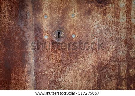 old iron lock on the door - stock photo