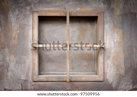 old iron window - stock photo