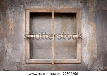 old iron window - stock photo