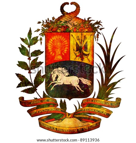 old isolated over white coat of arms of venezuela - stock photo