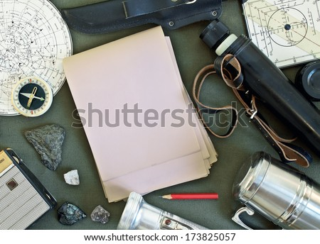 Old items for travel. Set of vintage travel accessories - stock photo