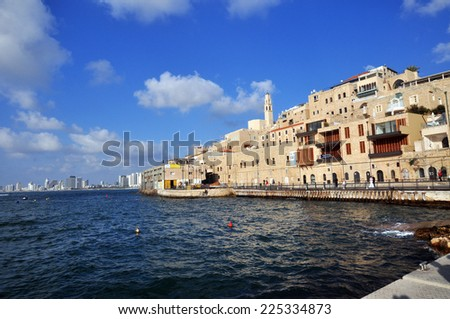 Old Jaffa Port and Tel-Aviv. Israel.  - stock photo