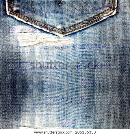 Old jeans background with hole in the style scrapbook - stock photo