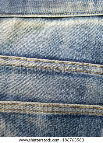 old Jeans texture with seam - stock photo