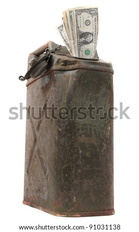 old jerrycan with dollar notes - stock photo