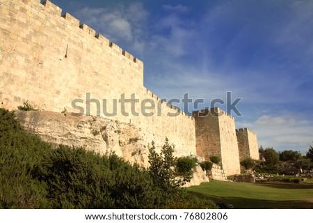 Old Jerusalem city walls - stock photo