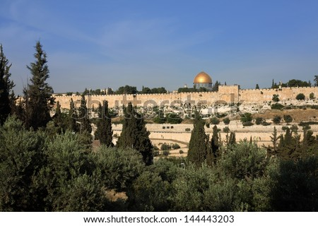 Old jerusalem panorama with dome of the rock - stock photo