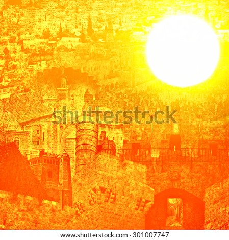 Old Jerusalem's historical architectural appearance on a gold sunlight background. Shrines of all religious faiths and architectural monuments of Jerusalem on gold sunny sky background - stock photo