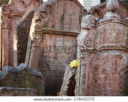 Old Jewish cemetery in Prague, Czech Republic - stock photo