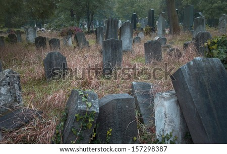 Old jewish cemetery in Vienna - stock photo