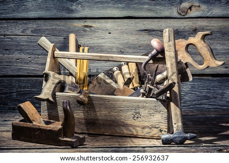 Old joinery tool box - stock photo