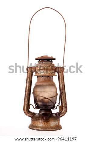 Old kerosene lantern - stock photo