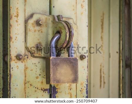 old key locked - stock photo