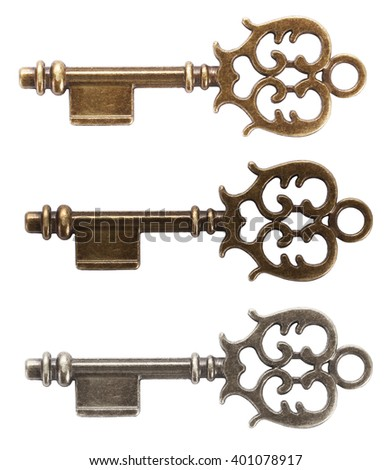 Old key made from gold, bronze or silver - stock photo