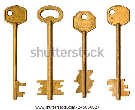 Old keys isolated on white. - stock photo