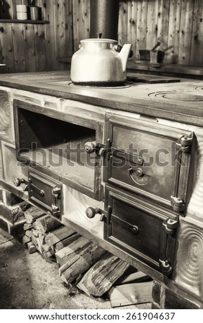 old kitchen at a farm - stock photo