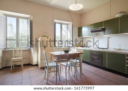 Old kitchen in country house - stock photo