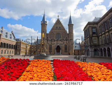 old knight hall Ridderzaal at spring, the Hague, Netherlands - stock photo