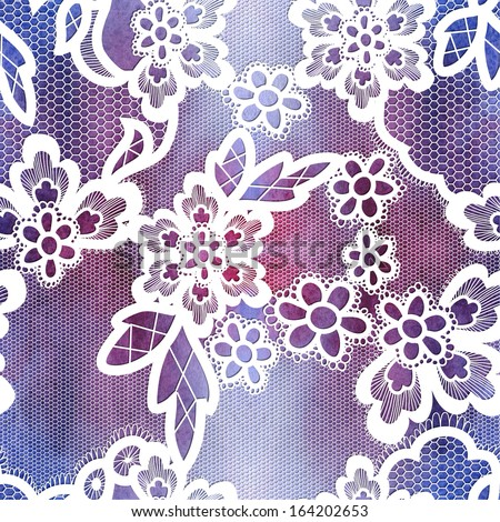 Old lace background, ornamental flowers. Watercolor realistic texture. Seamless pattern.  - stock photo