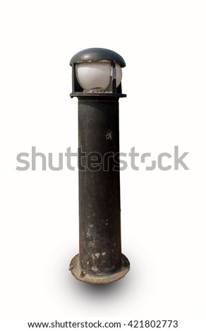 Old lamp on street isolated on white background. - stock photo
