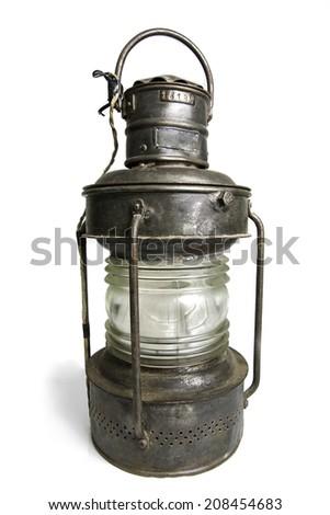 Old Lantern Isolated on White - stock photo