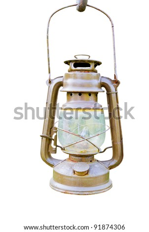 old lantern on white background - stock photo