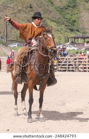 Old Latin Horseman Riding A Horse, South America Competition  - stock photo