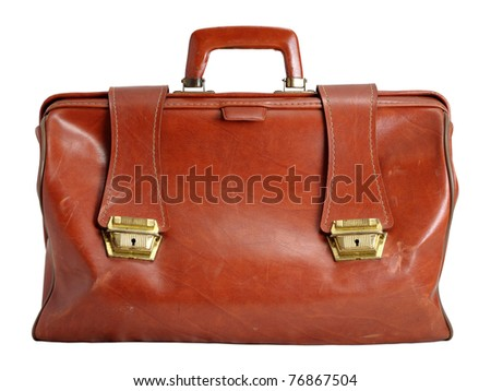 Old leather bag isolated on white background - stock photo