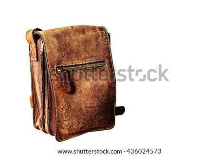 Old leather bag on a white background. - stock photo