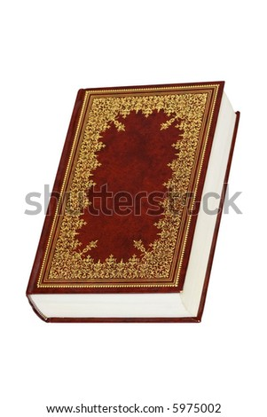 Old leather bound decorative book isolated on a white background - stock photo