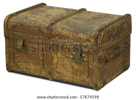 Old Leather Chest isolated on white background. - stock photo