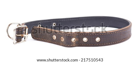 Old leather dog-collar isolated over the white background - stock photo