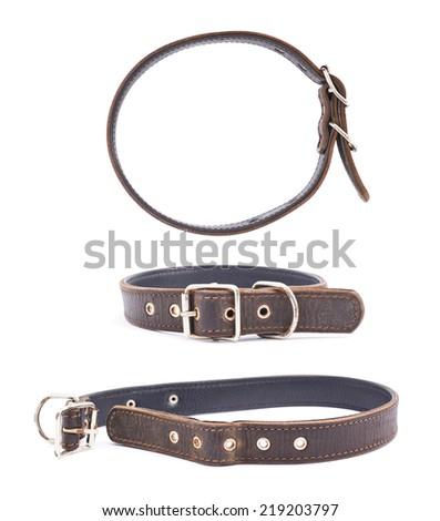 Old leather dog-collar isolated over the white background, set of three foreshortenings - stock photo