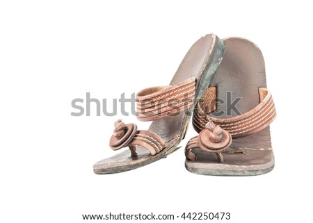 Old leather shoes isolated on white background. With clipping path. - stock photo