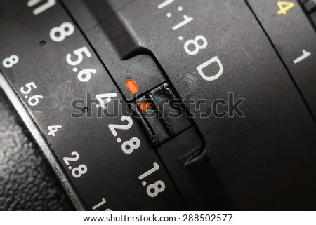 Old lens marking close up - stock photo