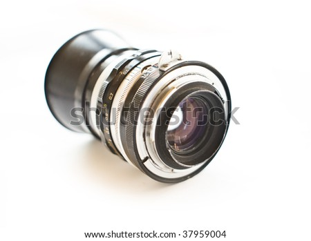 old lens on a white background - stock photo
