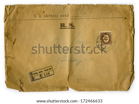 old letter envelope with post stamp circa 1870 - stock photo