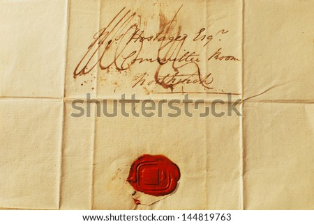 Old Letter with Red Wax Seal - Correspondence from the 1800's Landscape - stock photo